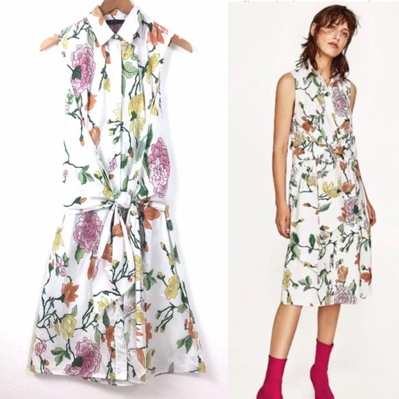 4d5445dc Zara Dresses   Woman Floral Tie Front Sleeveless Collard   Poshmark